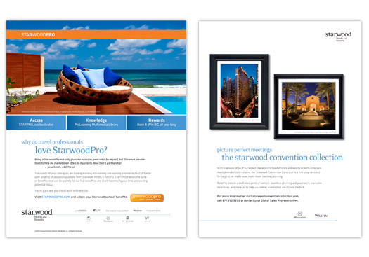 Starwood Hotels & Resorts, Divisions: StarwoodPro & Starwood Convention Collection Magazine Ads