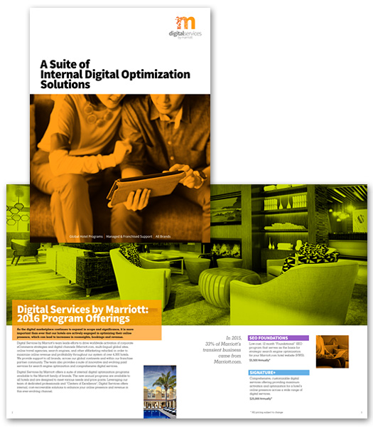 "Digital Services by Marriott. ""A Suite of Internal Digital Optimization Solutions"" brochure"