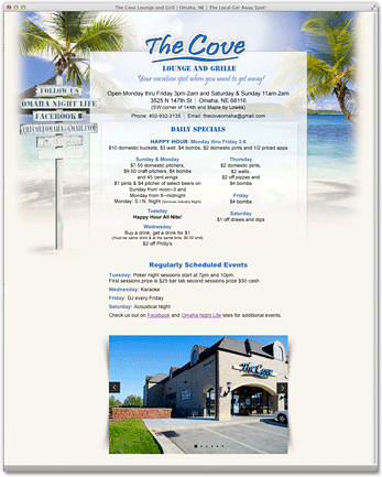 The Cove Lounge and Grill Web Landing Page