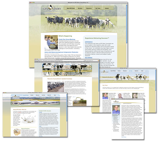 GPS Dairy Consulting website images.