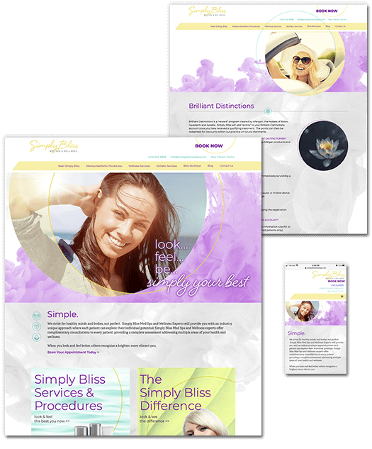 Simply Bliss Med Spa website images