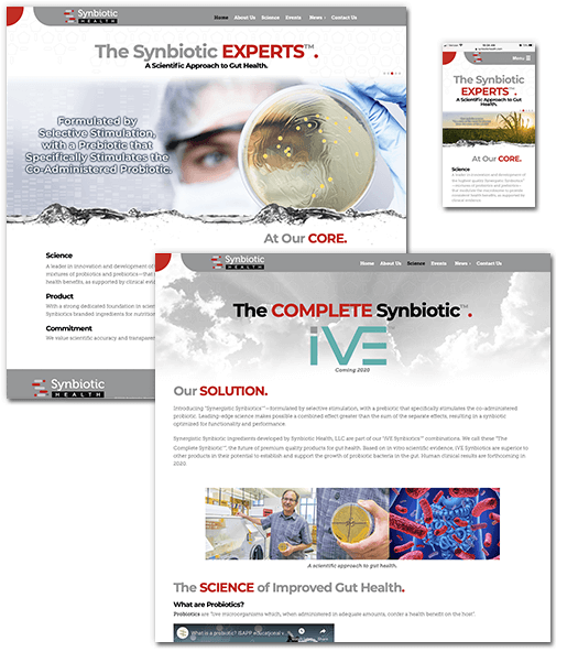 Synbiotic Health website images.